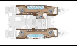 Sunsail Lagoon 505 Layout 5 cabins 5 heads